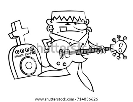 Coloring Book Page With A Rocking Guitar Playing Frankenstein Monster Vector Illustration