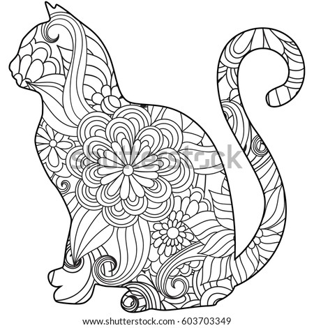 coloring book page with floral