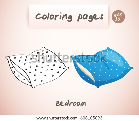 Coloring book pages for kids : Bedroom : Pillow :  Vector Illustration