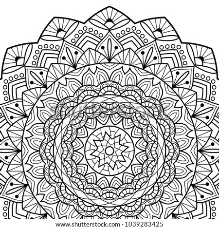 Coloring Book Pages Mandala Indian Antistress Medallion Abstract Islamic Flower Arabic Henna Small Spiral Opened Notebook Isolated On White Background