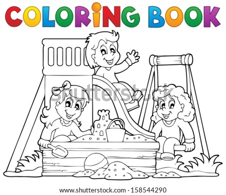 playground coloring page. house with hill on playground. sample ...