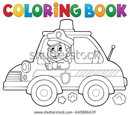coloring book police car theme