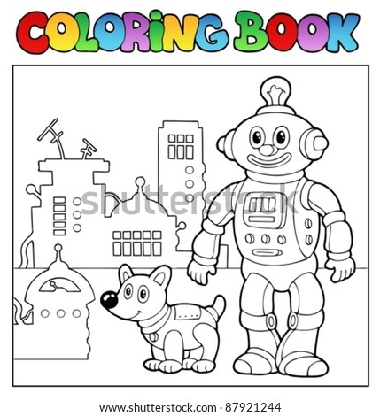 coloring book robot theme 1