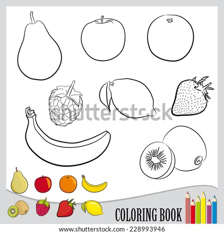 coloring book   set of fruit