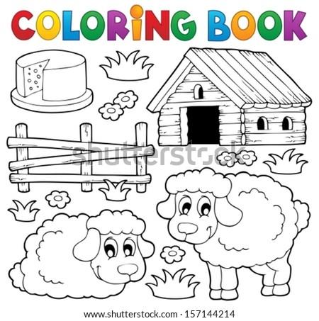 Coloring book sheep theme 1 - eps10 vector illustration.