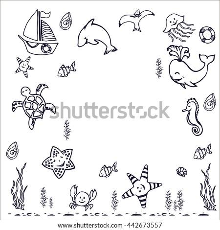 Coloring book summer sea, design for kids. Vector illustration.