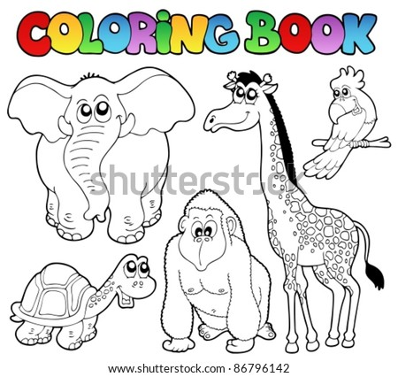 coloring book tropical animals