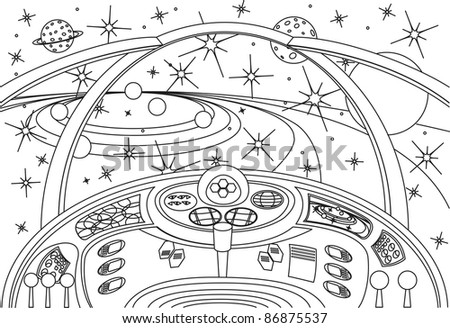 coloring book universe, vector illustration