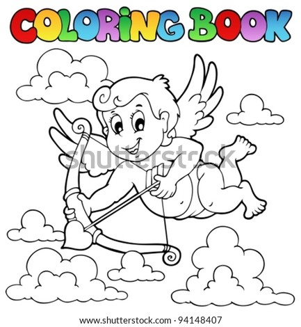 Coloring book Valentine theme 1 - vector illustration.