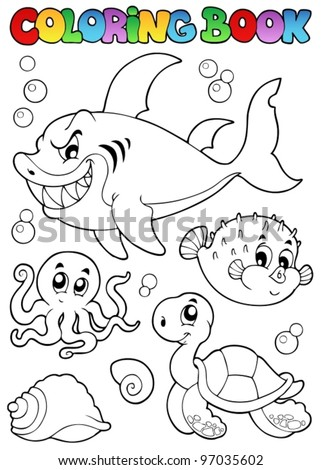 coloring book various sea