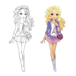 Coloring book vector illustration of beautiful blonde girl walking