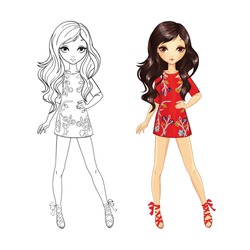 Coloring book vector illustration of beautiful brunette in short red dress