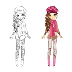 Coloring book vector illustration of beautiful cute girl in short coat