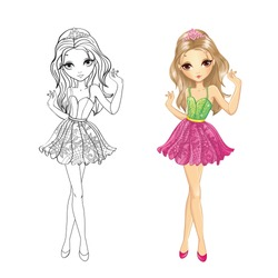 Coloring book vector illustration of fashion girl with pink tiara