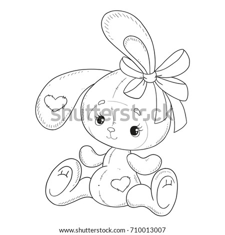 Coloring book vector. The Bunny coloring book. Bunny with a bow. Teddy Hare. Contour on a white background. Hand drawing.