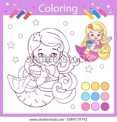 coloring book wih cute mermaid