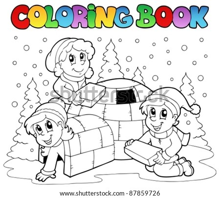 Coloring book winter scene 1 - vector illustration. - stock vector
