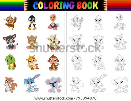 Coloring book with animals cartoon collection #795394870