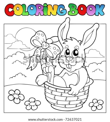 Coloring book with bunny in basket - vector illustration.