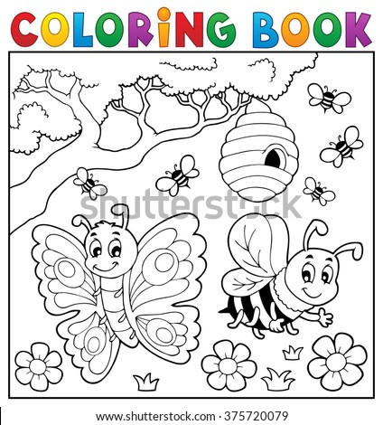 coloring book with butterfly