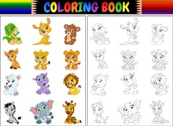 Coloring book with cartoon wild animals collection