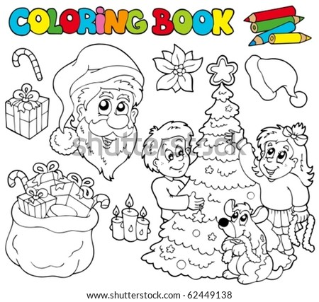 Coloring book with Christmas theme - vector illustration.