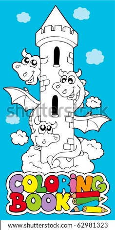 Coloring book with dragon 1 - vector illustration.