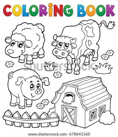 Coloring book with farm animals 6 - eps10 vector illustration.