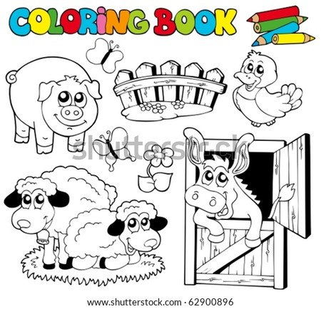 Coloring book with farm animals 2 - vector illustration. - stock vector