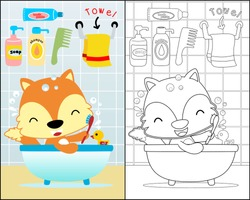 coloring book with funny animals cartoon, little fox in the bathroom.