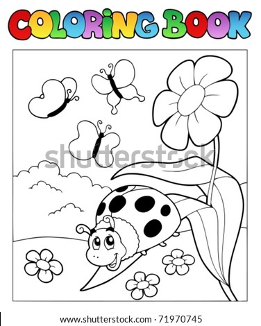 Coloring book with ladybug 1 - vector illustration.