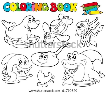 coloring book with marine