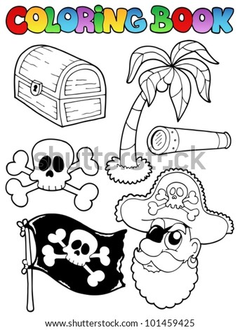 Coloring book with pirate topic 7 - vector illustration. - stock vector