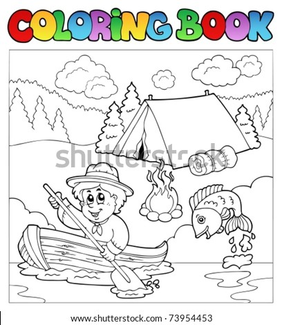 Coloring book with scout in boat - vector illustration.