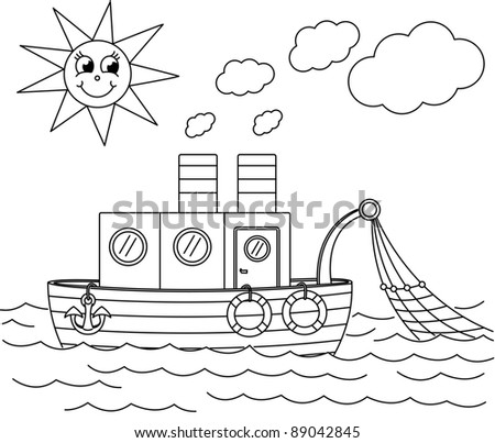 coloring book with ship - vector illustration