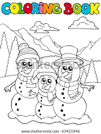Coloring book with snowman family - vector illustration.