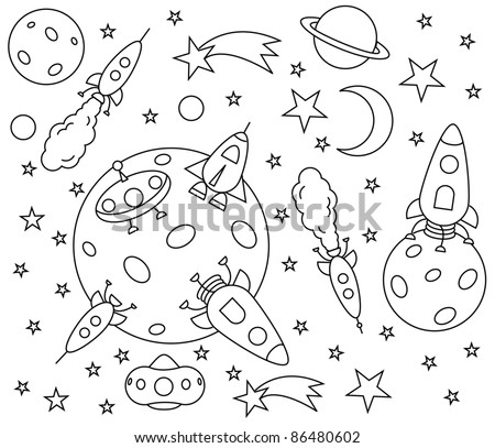 coloring book with spaceships in the universe , vector illustration