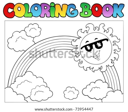 Coloring book with Sun and rainbow - vector illustration.