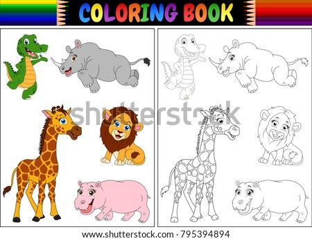 Coloring book with wild animals cartoon #795394894