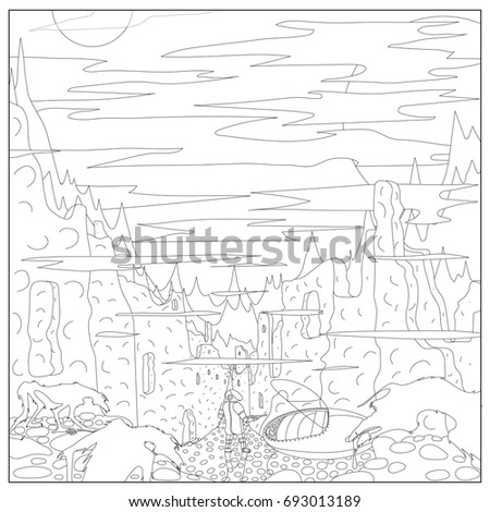 coloring fantasy destroyed city