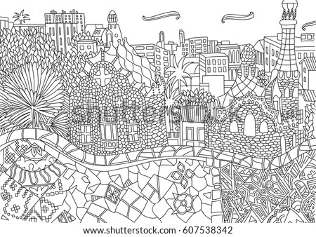 Coloring for adult with Barcelona. Spain. Catalonia. Coloring page in line style. European landscapes. Europe collection. Vector illustration