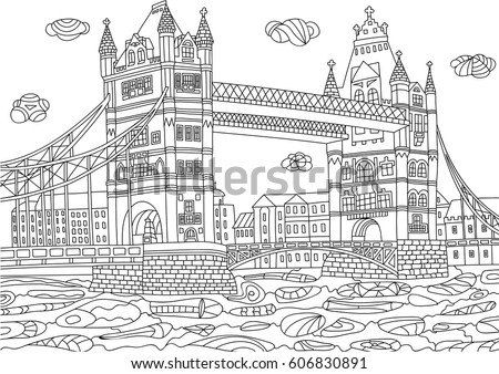 Coloring for adult with London. Great Britain. Coloring page in line style. European landscapes. Europe collection. Vector illustration