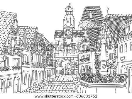 Coloring for adult with Luxembourg. Coloring page in line style. European landscapes. Europe collection. Vector illustration