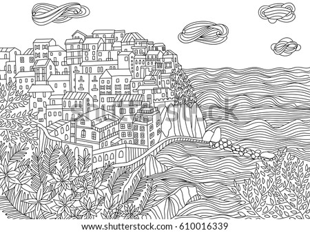Coloring For Adult With Monterosso Al Mare Italy Page In Line Style
