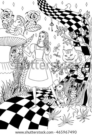 coloring for adults alice in