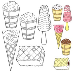 Coloring for children. A set of ice cream. A glass, a horn, on a stick, wafer briquettes. Black and white vector illustration with a sample for coloring.