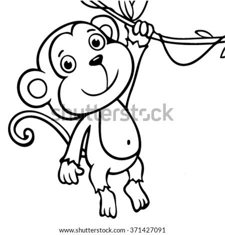 Vector Illustration Of Cartoon Monkeys Coloring Book Ez Canvas
