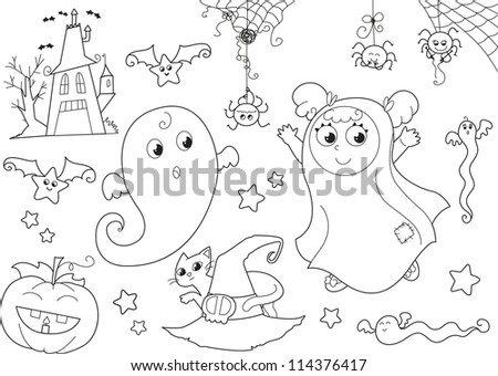Coloring Halloween set with Cute ghosts, masked girl, creepy house, bats, funny spiders, jack-o-lantern, cat and witch hat.