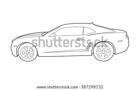 Coloring Illustration Of Outline Car Vector Illustration Muscle Car