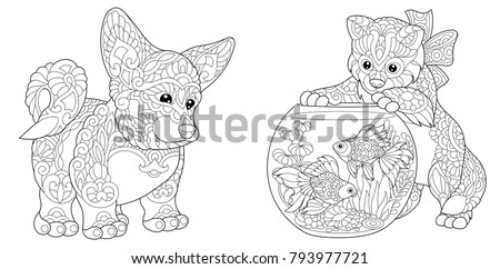 Coloring Page Adult Book Cardigan Welsh Corgi Dog Cat Playing With Goldfish